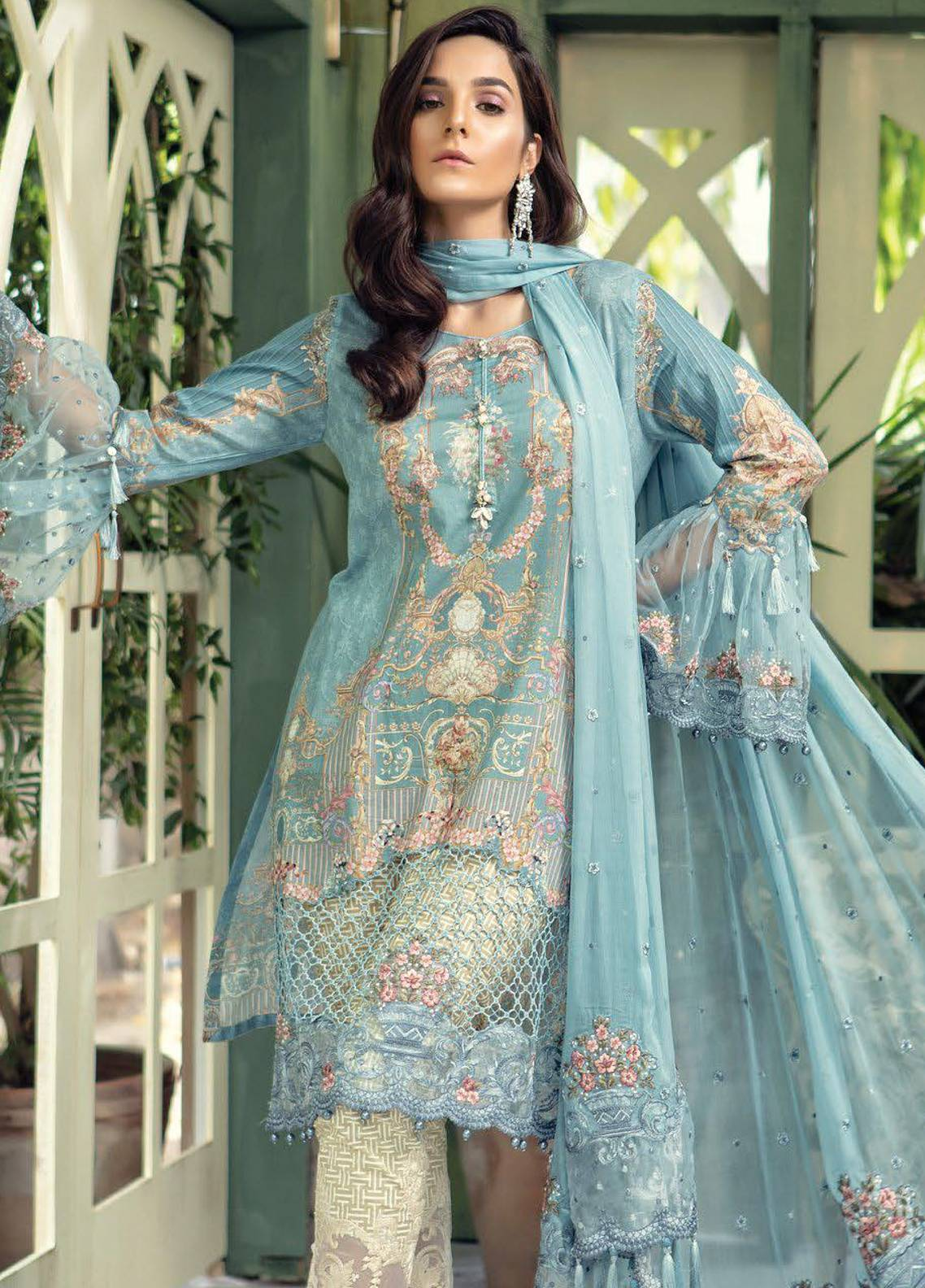 ca5275451c Maria B Embroidered Lawn Unstitched 3 Piece Suit MBL18E 05 - Eid Collection