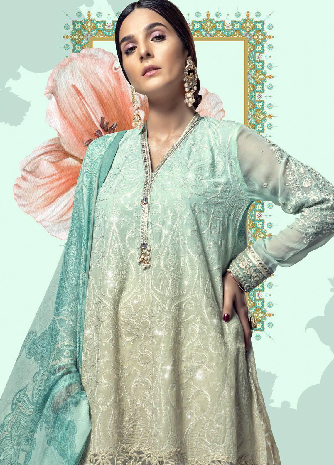 8ea4199bda Maria B Embroidered Lawn Unstitched 3 Piece Suit MBL18E 10 - Eid Collection