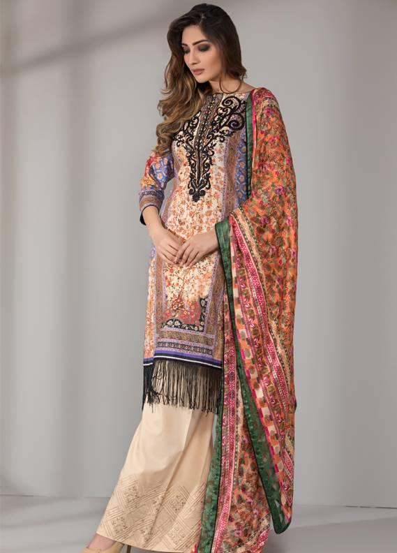 Mahrukh By ZS Embroidered Cotton Unstitched 3 Piece Suit ME18D 02