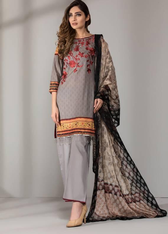 Mahrukh By ZS Embroidered Cotton Unstitched 3 Piece Suit ME18D 06