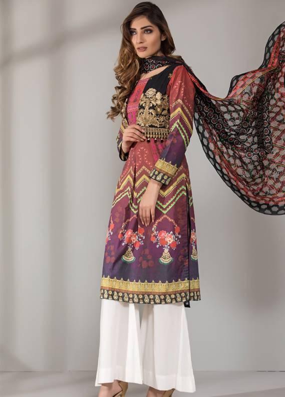 Mahrukh By ZS Embroidered Cotton Unstitched 3 Piece Suit ME18D 07