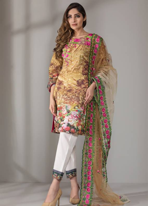 Mahrukh By ZS Embroidered Cotton Unstitched 3 Piece Suit ME18D 11