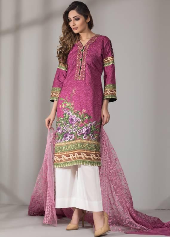 Mahrukh By ZS Embroidered Cotton Unstitched 3 Piece Suit ME18D 12