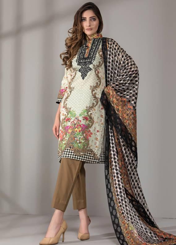 Mahrukh By ZS Embroidered Cotton Unstitched 3 Piece Suit ME18D 14