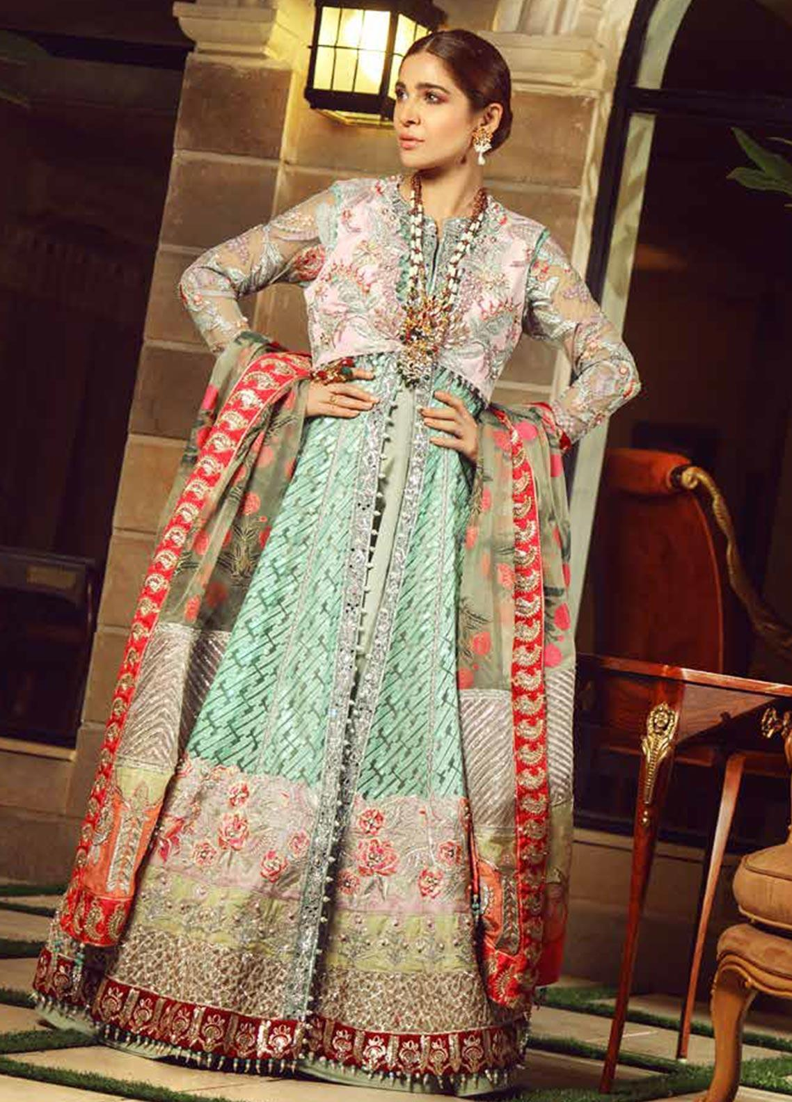 Meer by Maryam Hussain Embroidered Net Unstitched 3 Piece Suit MRH19W PARISA - Wedding Collection