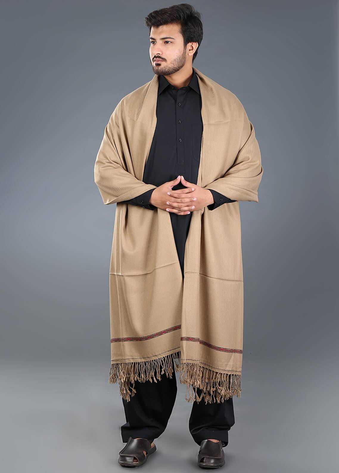 Sanaulla Exclusive Range  Acrylic  Men's Shawl 01 - Winter Collection