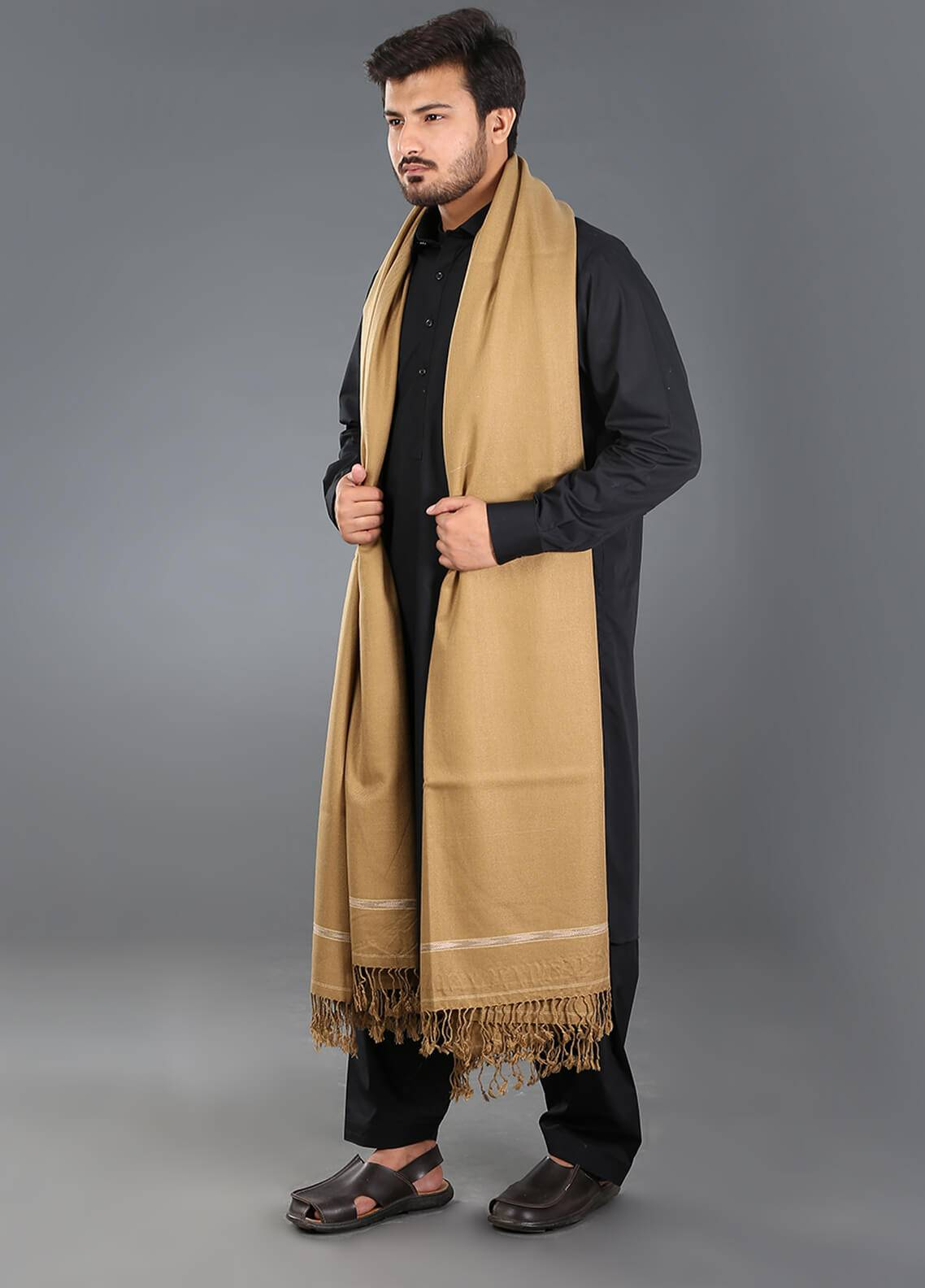 Sanaulla Exclusive Range  Acrylic  Men's Shawl 02 - Winter Collection