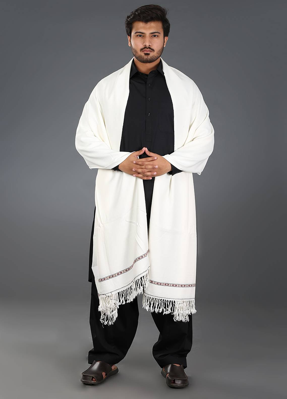 Sanaulla Exclusive Range  Acrylic Weaved Men's Shawl 03 - Winter Collection