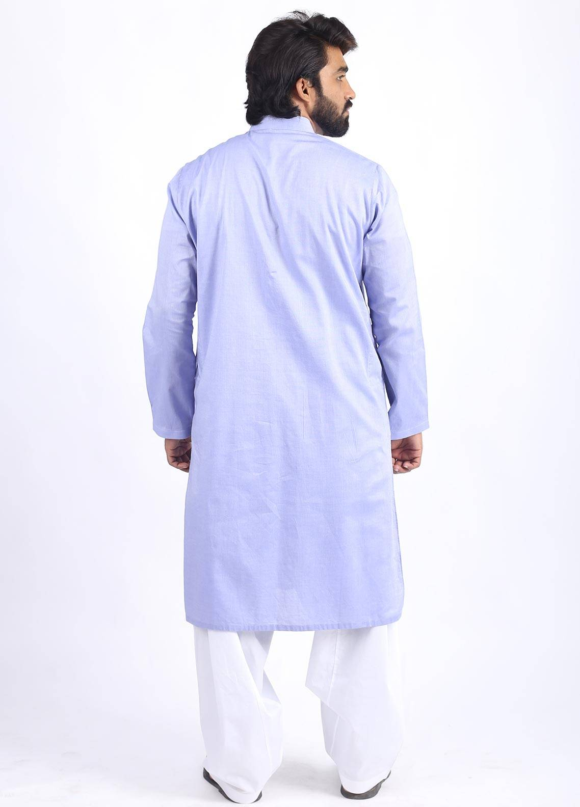 Sanaulla Exclusive Range Cotton Formal Kurtas for Men - Blue SAM18K 01