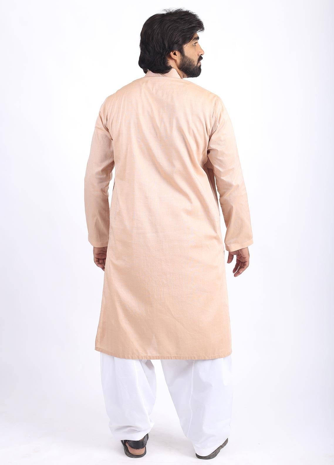 Sanaulla Exclusive Range Cotton Formal Kurtas for Men - Yellow SAM18K 05