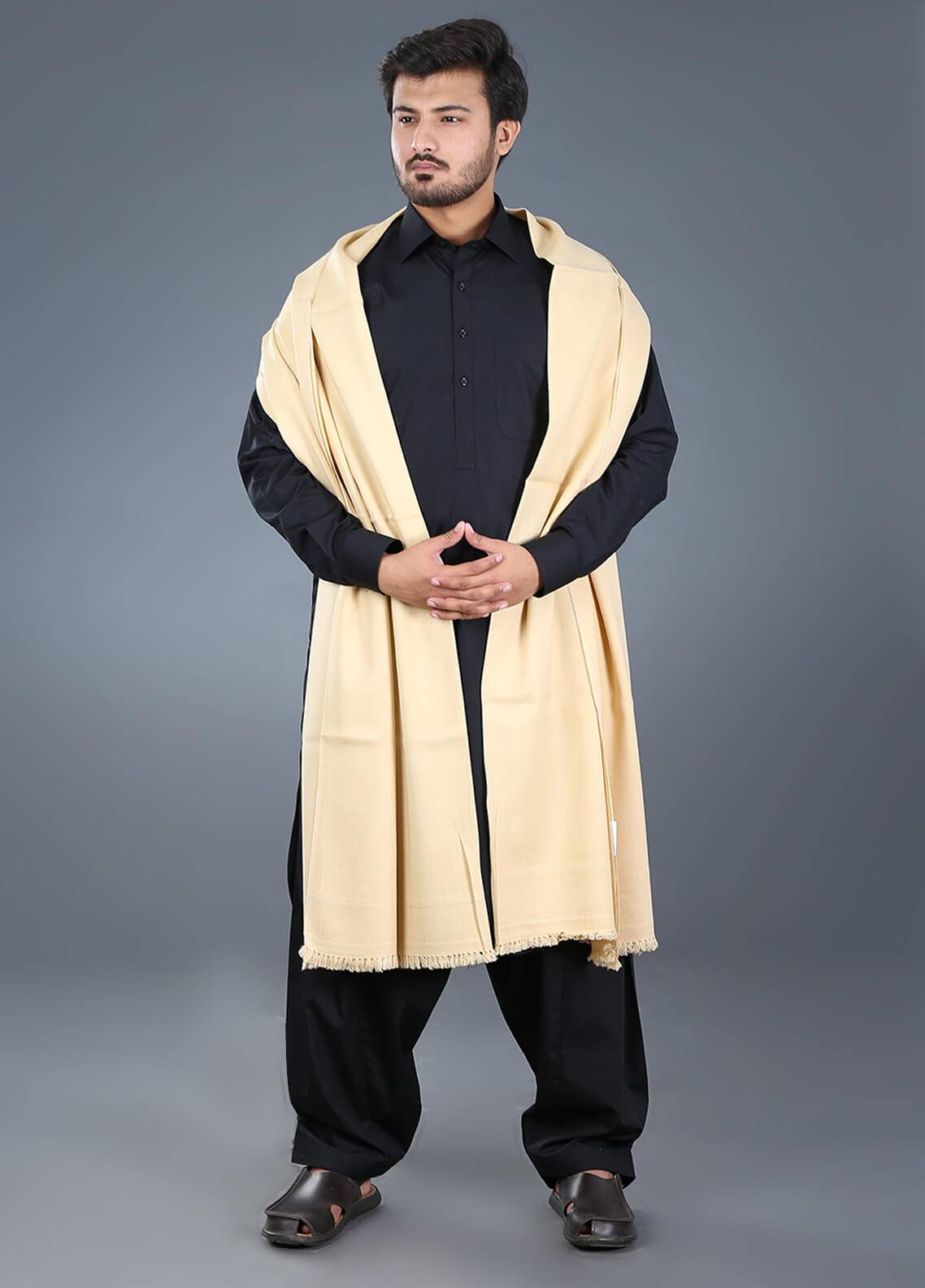 Sanaulla Exclusive Range  Pashmina Weaved Men's Shawl 04 - Winter Collection