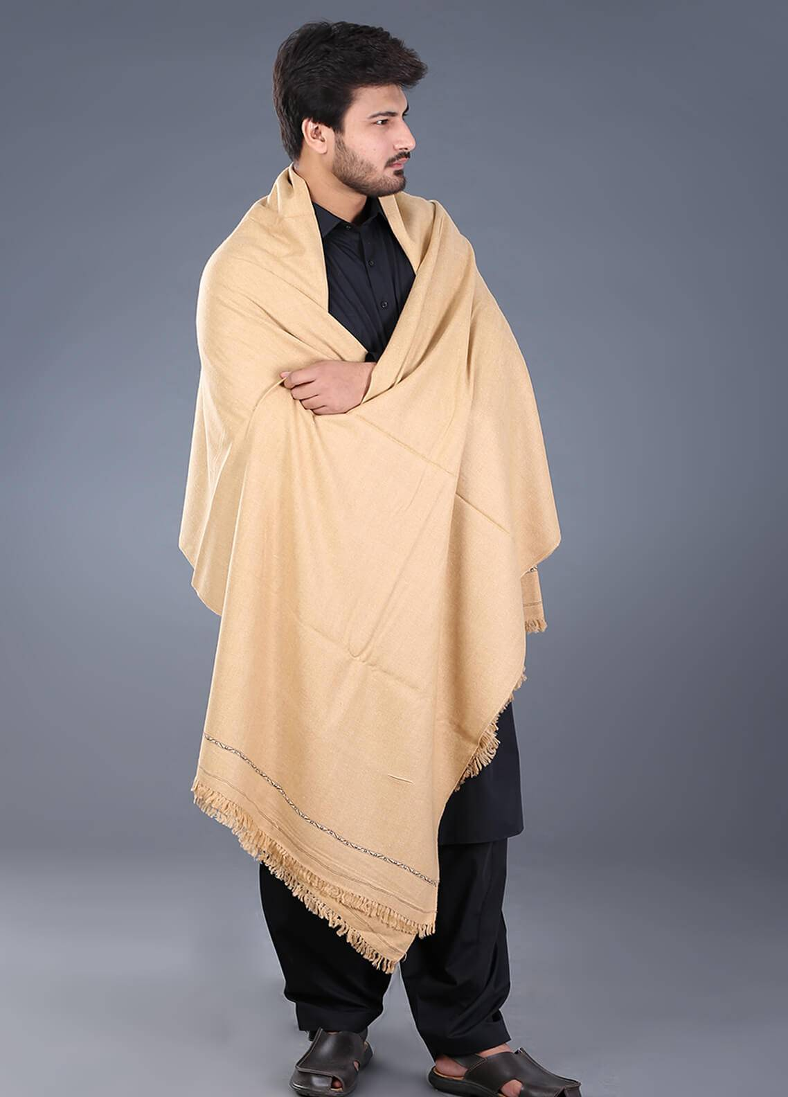 Sanaulla Exclusive Range  Pashmina  Men's Shawl 06 - Winter Collection