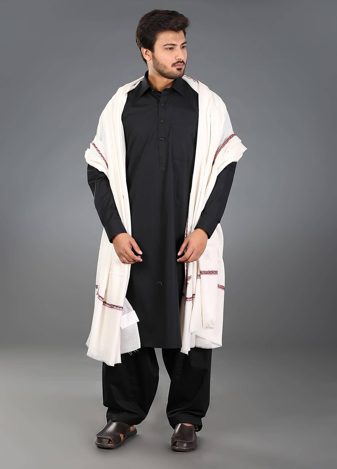 Sanaulla Exclusive Range Hand Work Embroidered Pashmina  Men's Shawl 07 - Winter Collection