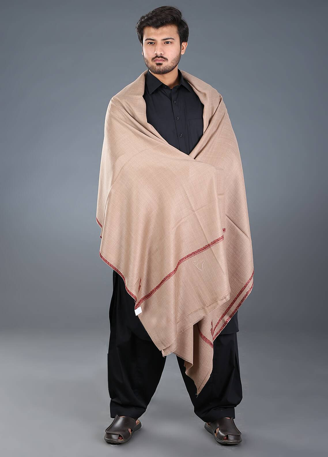 Sanaulla Exclusive Range Hand Work Embroidered Pashmina  Men's Shawl 08 - Winter Collection
