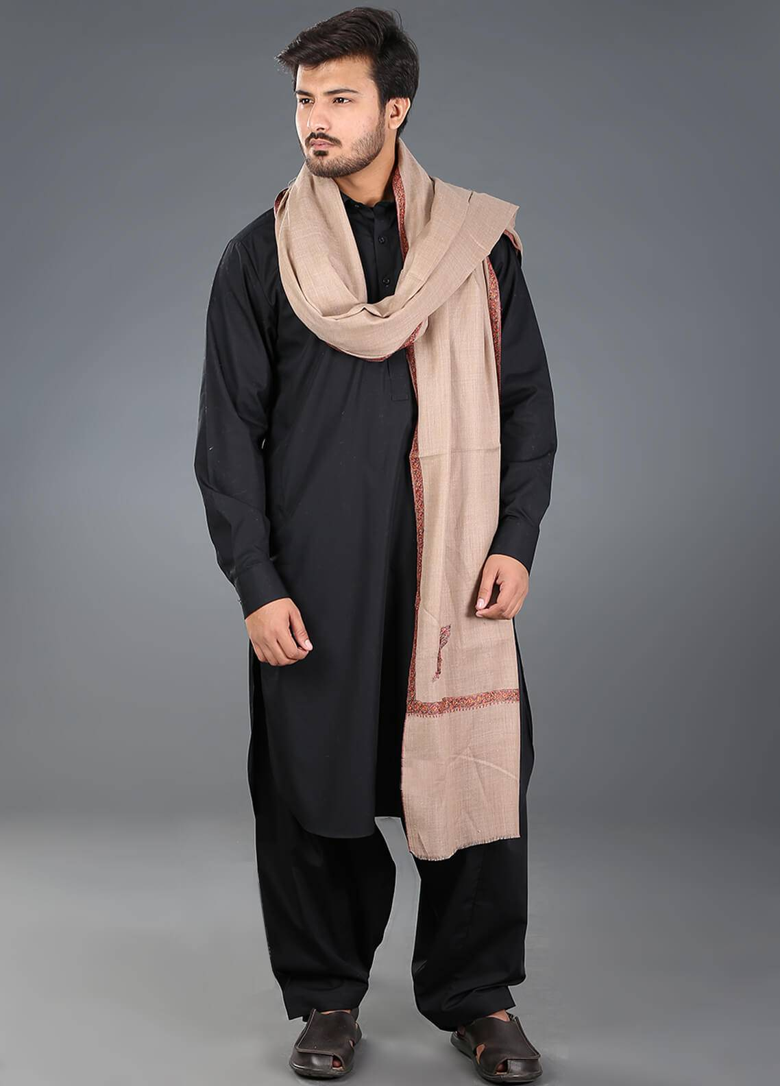 Sanaulla Exclusive Range Hand Work Embroidered Pashmina  Men's Shawl 09 - Winter Collection