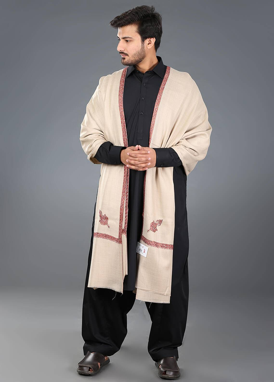 Sanaulla Exclusive Range Hand Work Embroidered Pashmina  Men's Shawl 10 - Winter Collection