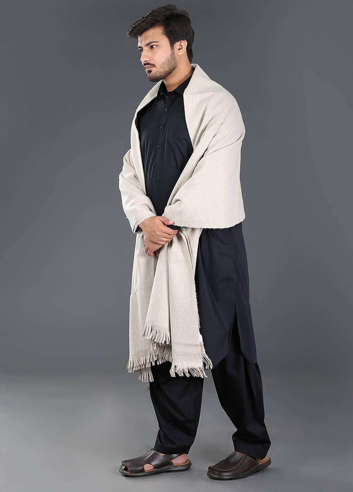 Sanaulla Exclusive Range  Pashmina Weaved Men's Shawl 11 - Winter Collection