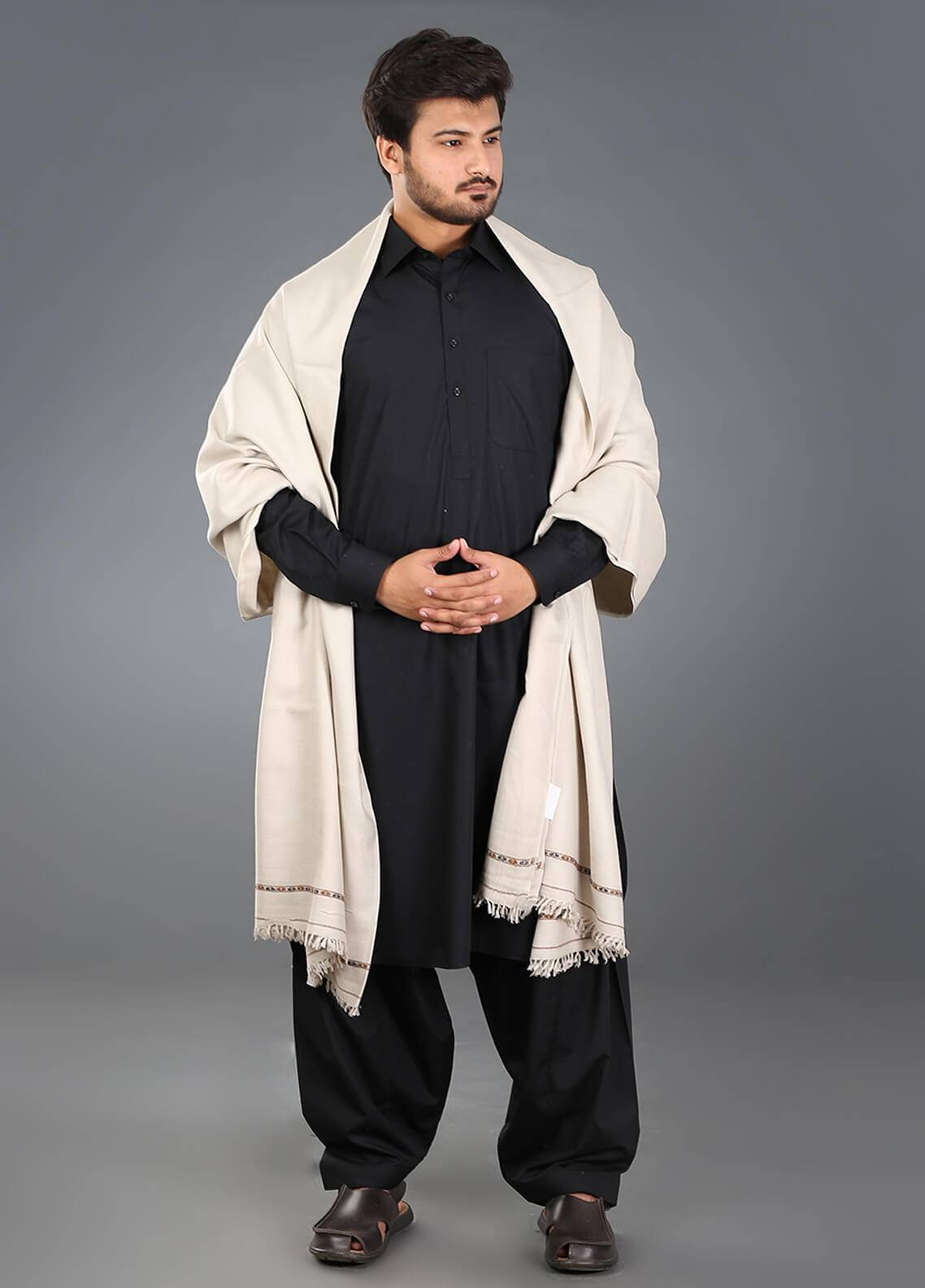 Sanaulla Exclusive Range  Pashmina Weaved Men's Shawl 12 - Winter Collection
