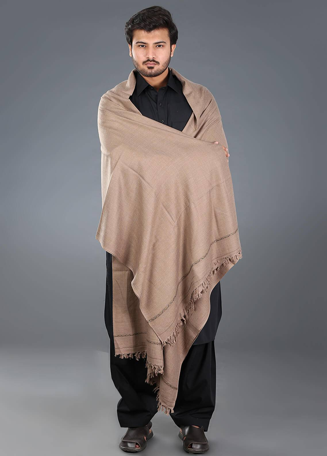 Sanaulla Exclusive Range  Pashmina Weaved Men's Shawl 13 - Winter Collection
