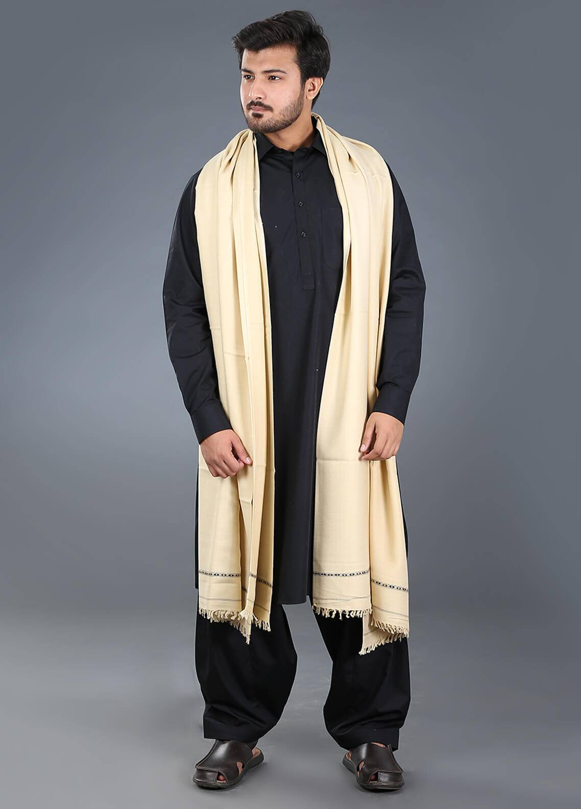 Sanaulla Exclusive Range  Pashmina Weaved Men's Shawl 14 - Winter Collection