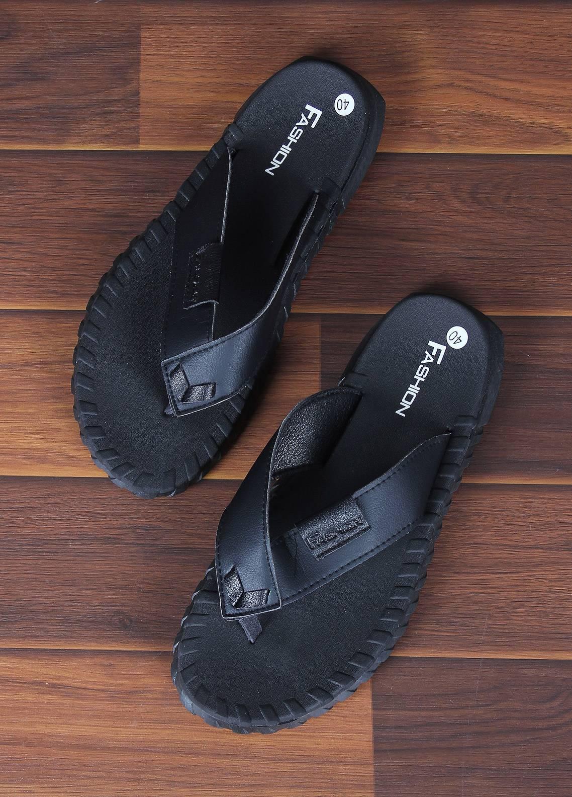 Sanaulla Exclusive Range  Rubber Flip Flops For Men 1668 Black