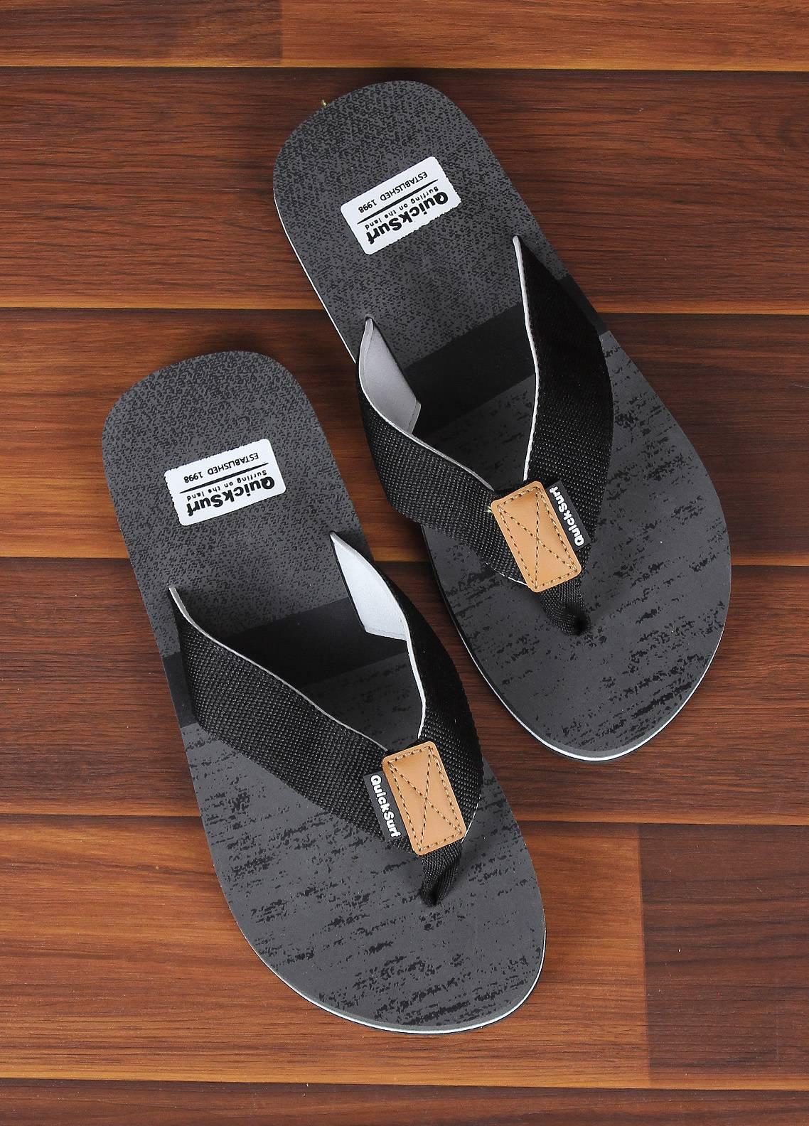 Sanaulla Exclusive Range  Rubber Flip Flops For Men 2368 Black