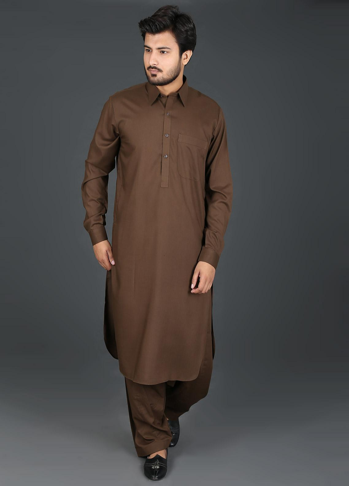Sanaulla Exclusive Range Cotton Formal Kameez Shalwar for Men -  P-4 Brown