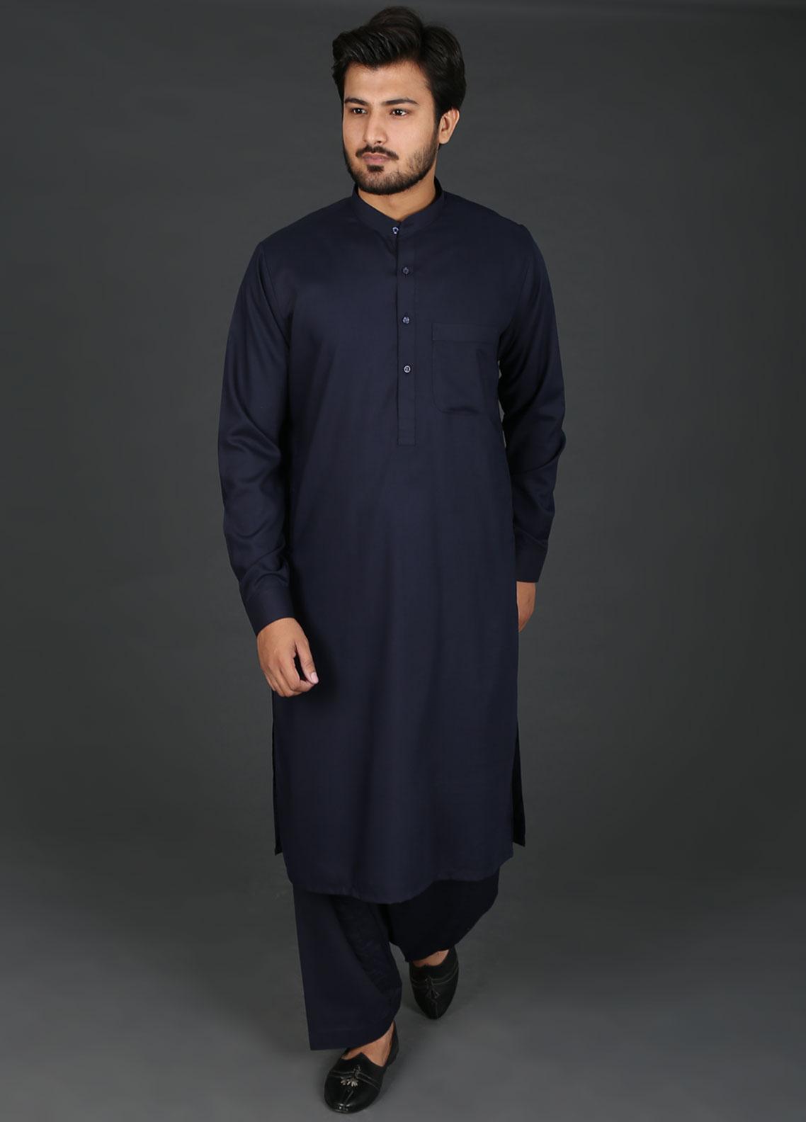 Sanaulla Exclusive Range Cotton Formal Kameez Shalwar for Men -  P-4 Navy