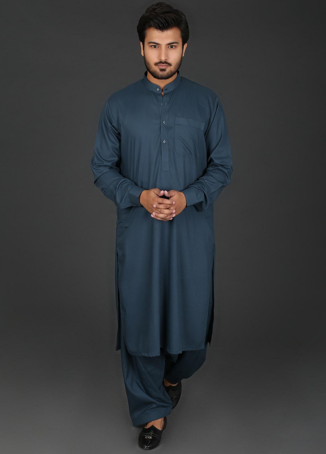 a3dfb588d5 Sanaulla Exclusive Range Cotton Formal Men Kameez Shalwar - P-4 Sea Green