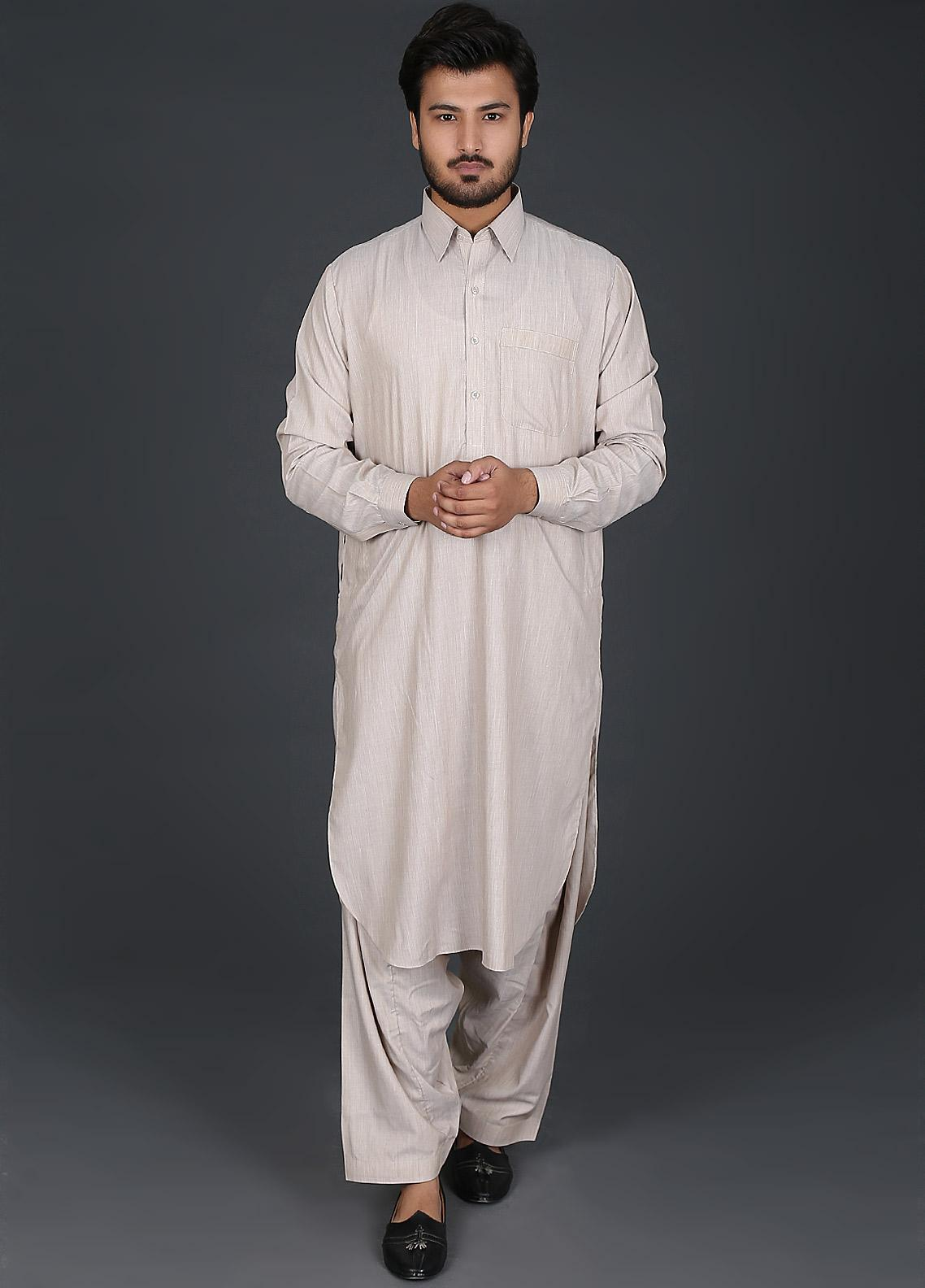 Sanaulla Exclusive Range Cotton Formal Kameez Shalwar for Men -  P-15 Gold