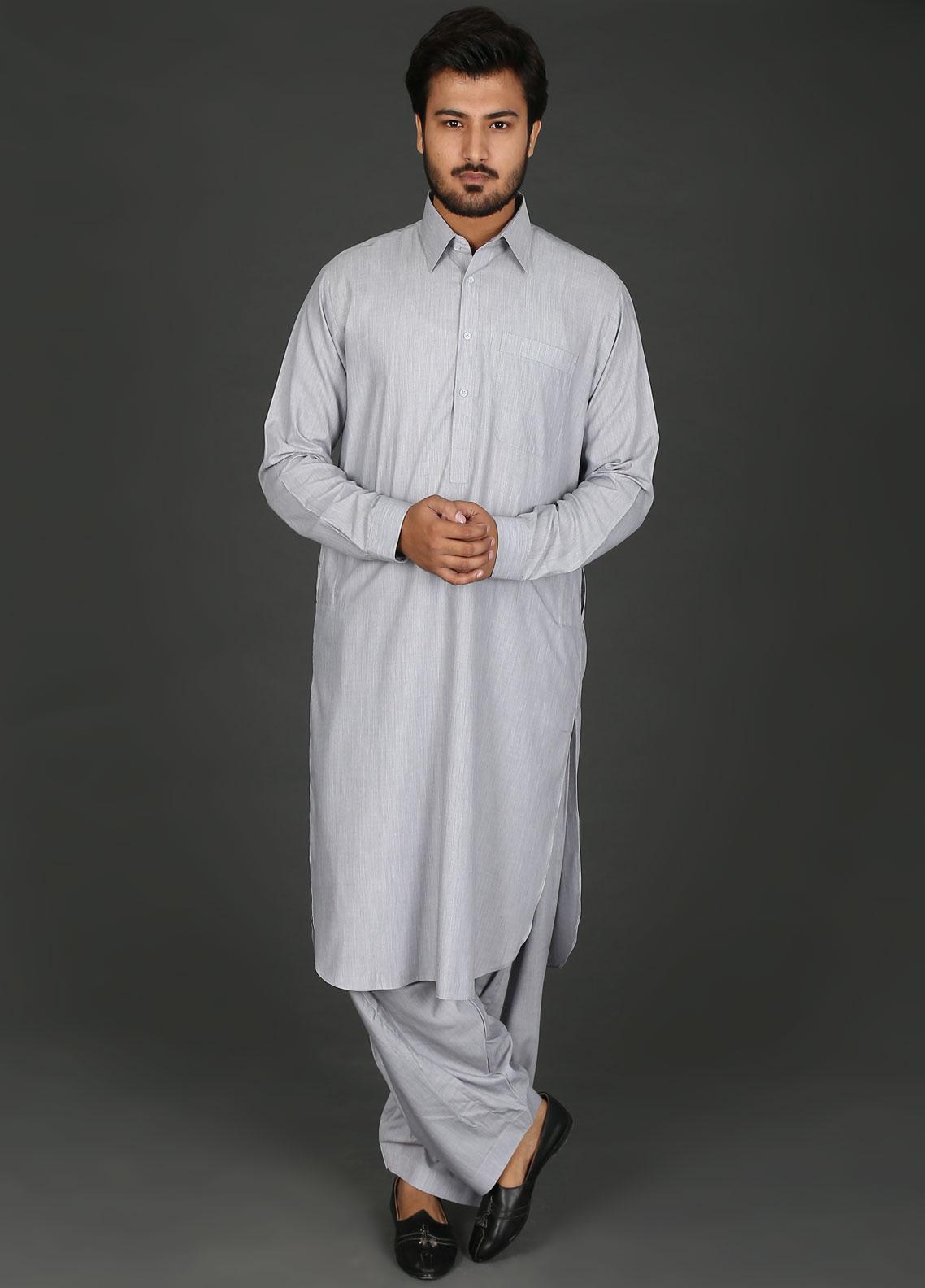 Sanaulla Exclusive Range Cotton Formal Men Kameez Shalwar -  P-15 Grey