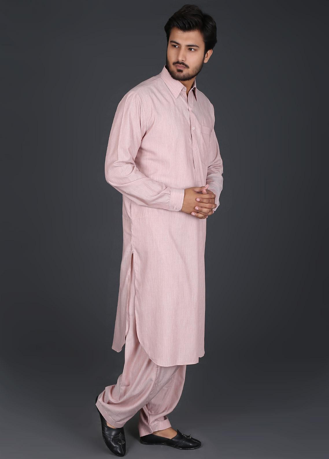 Sanaulla Exclusive Range Cotton Formal Kameez Shalwar for Men -  P-15 Rust