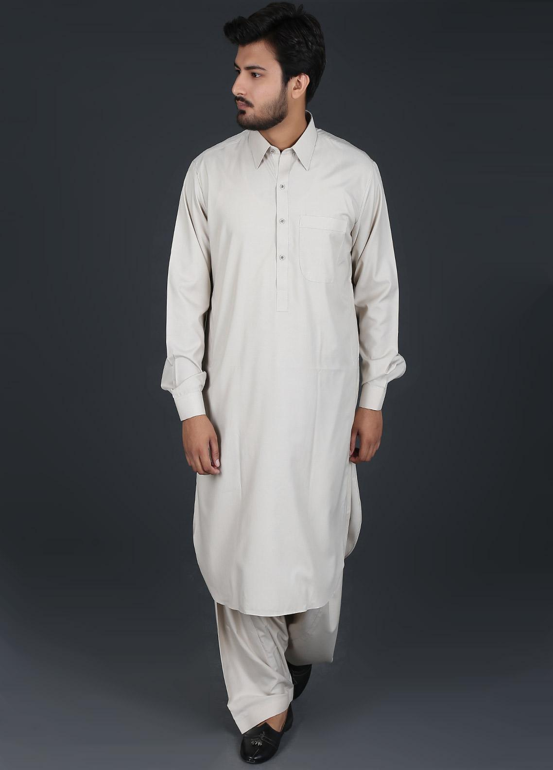Sanaulla Exclusive Range Cotton Formal Men Kameez Shalwar -  P-16 Beige