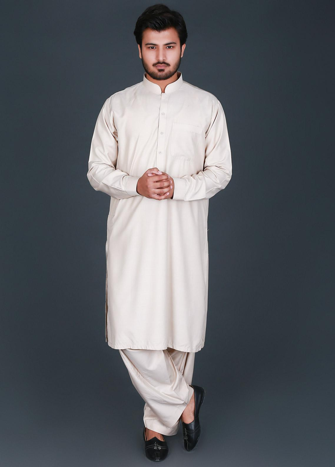 Sanaulla Exclusive Range Cotton Formal Kameez Shalwar for Men -  P-16 Fawn