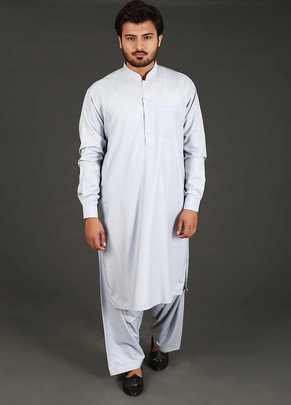 Sanaulla Exclusive Range Cotton Formal Kameez Shalwar for Men -  P-16 Light Blue