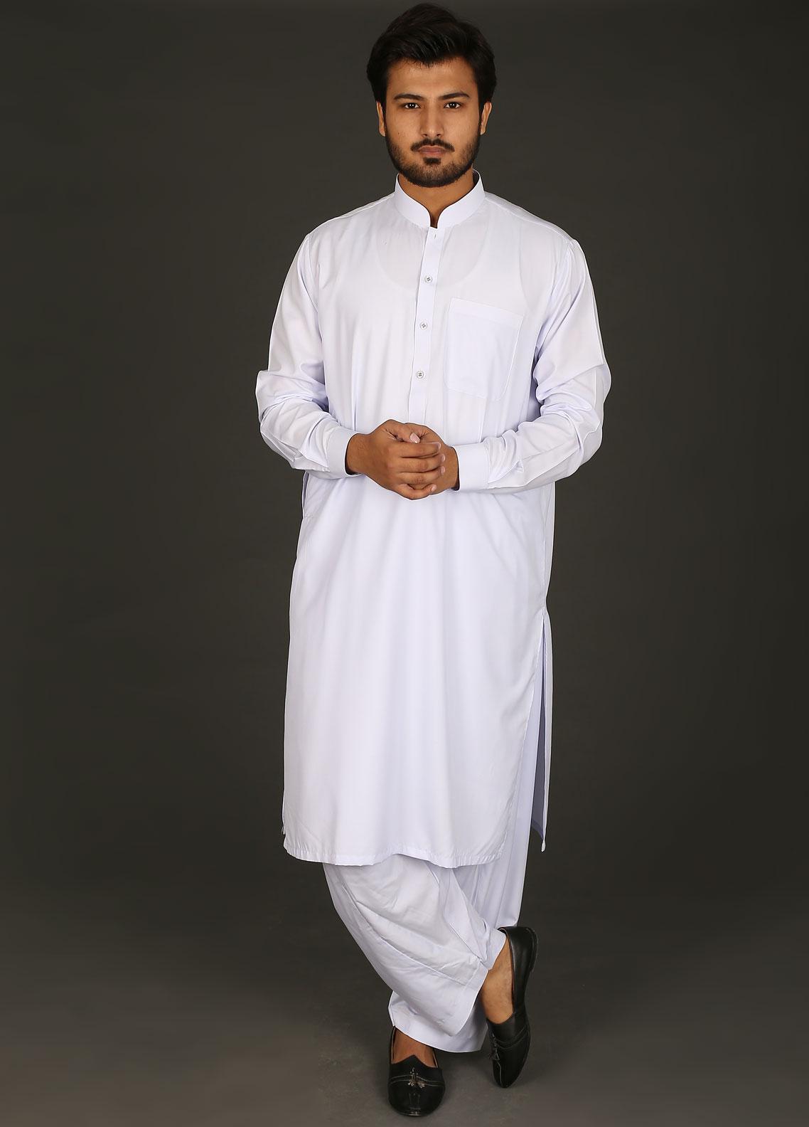 1d6042ae62 Sanaulla Exclusive Range Cotton Formal Men Kameez Shalwar - P-16 White