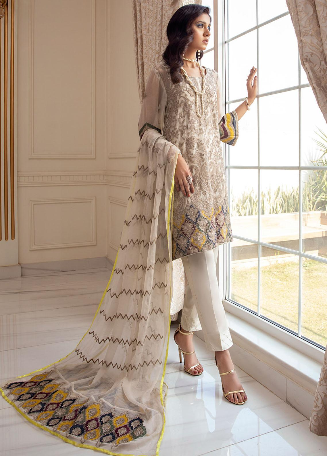 Meraki by ZS Textiles Embroidered Chiffon Unstitched 3 Piece Suit ZS21M 01 - Luxury Collection