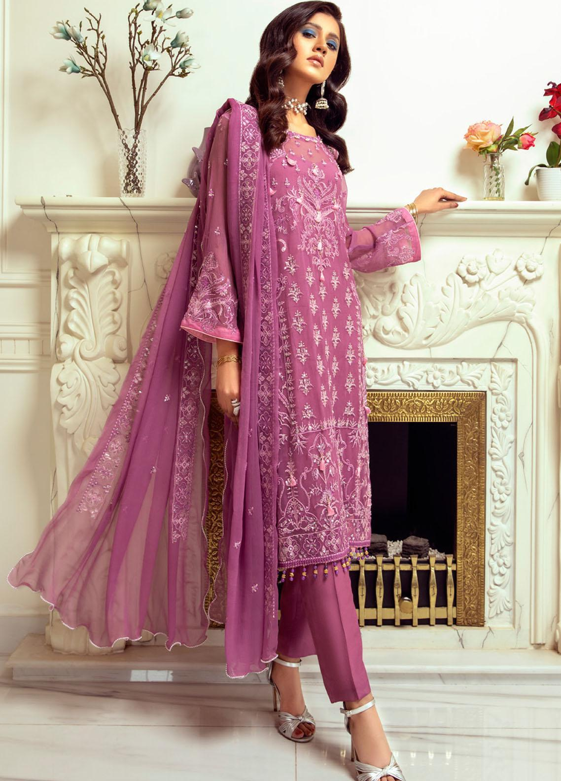 Meraki by ZS Textiles Embroidered Chiffon Unstitched 3 Piece Suit ZS21M 02 - Luxury Collection