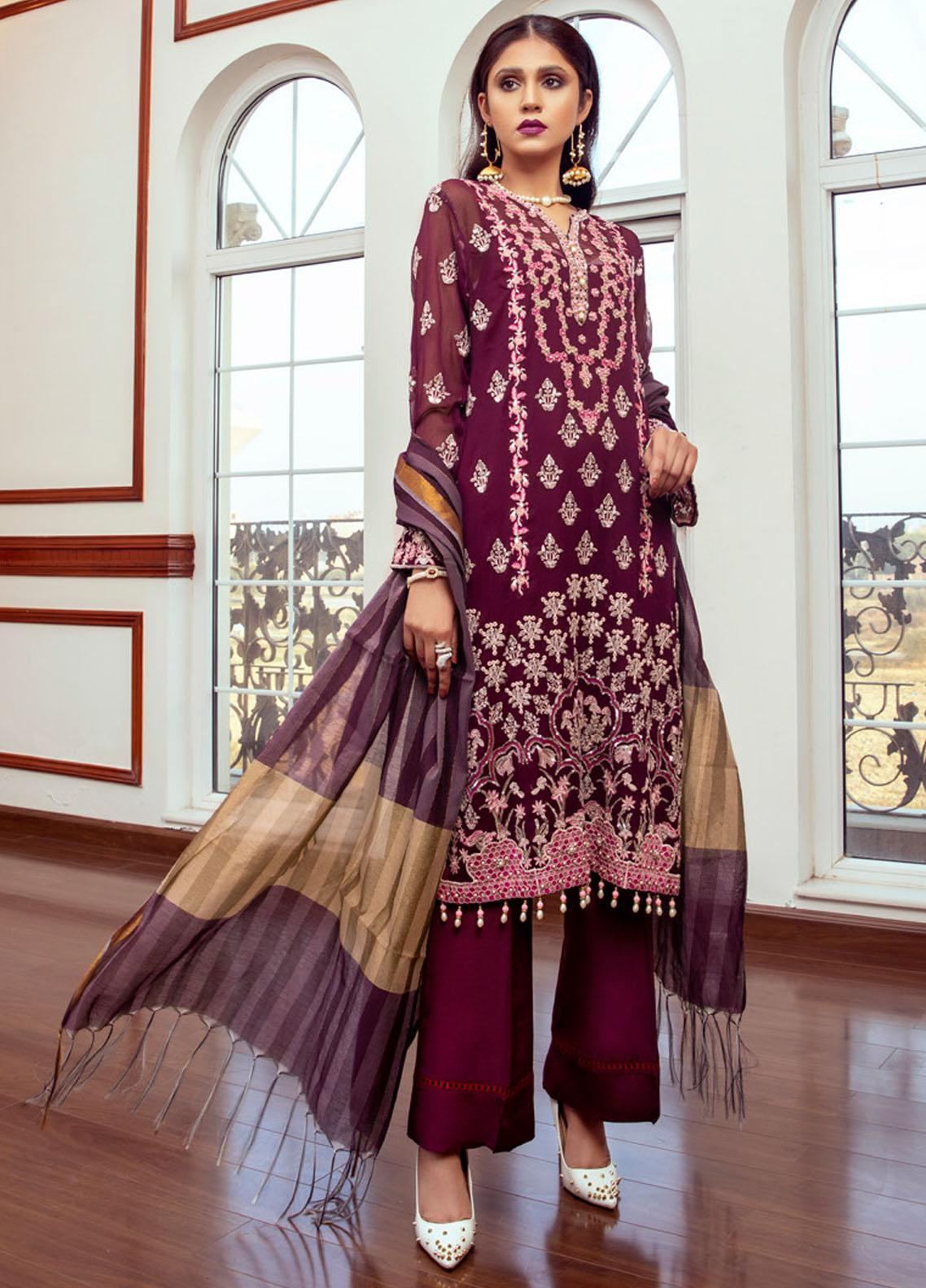 Meraki by ZS Textiles Embroidered Chiffon Unstitched 3 Piece Suit ZS21M 08 - Luxury Collection