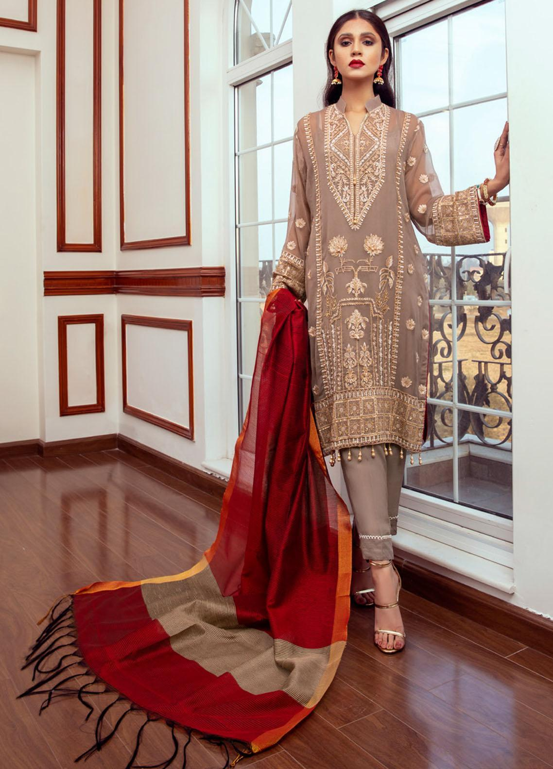 Meraki by ZS Textiles Embroidered Chiffon Unstitched 3 Piece Suit ZS21M 09 - Luxury Collection
