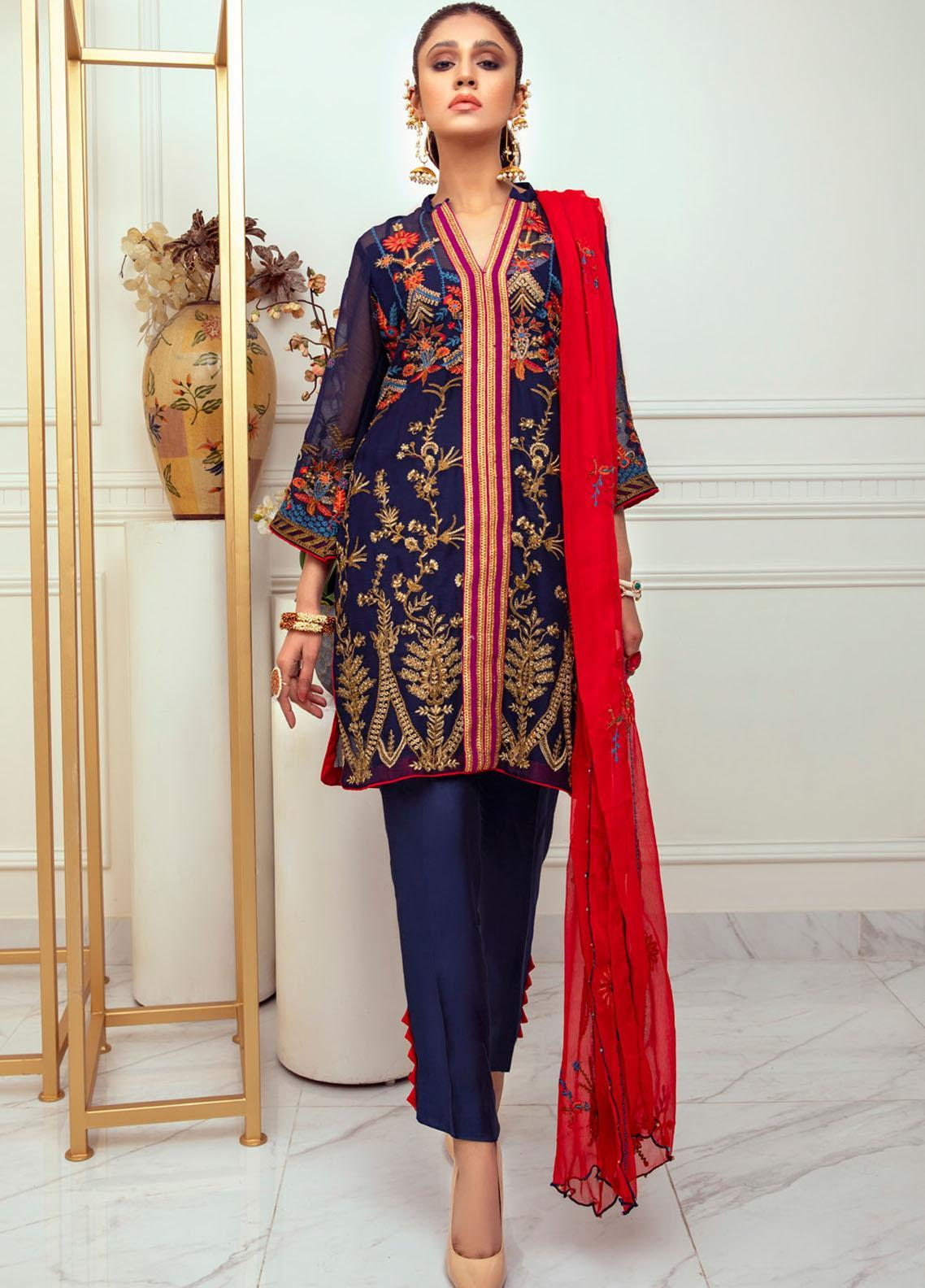Meraki by ZS Textiles Embroidered Chiffon Unstitched 3 Piece Suit ZS21M 10 - Luxury Collection