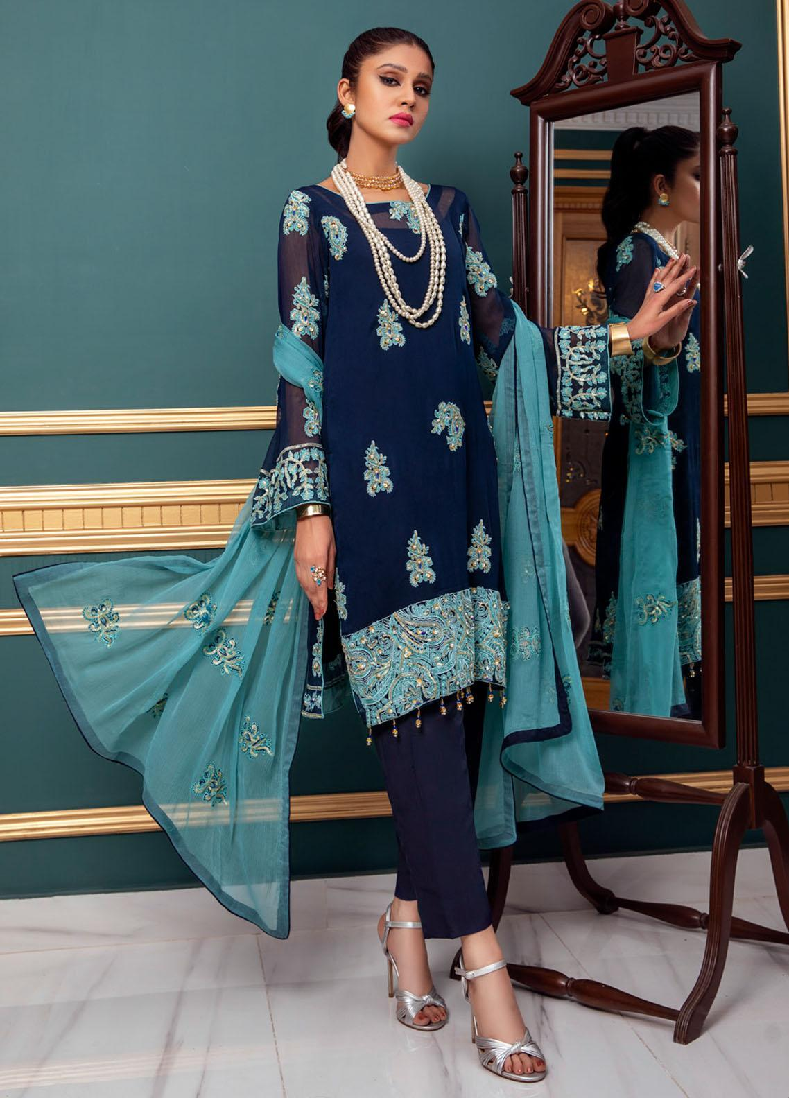 Meraki by ZS Textiles Embroidered Chiffon Unstitched 3 Piece Suit ZS21M 12 - Luxury Collection