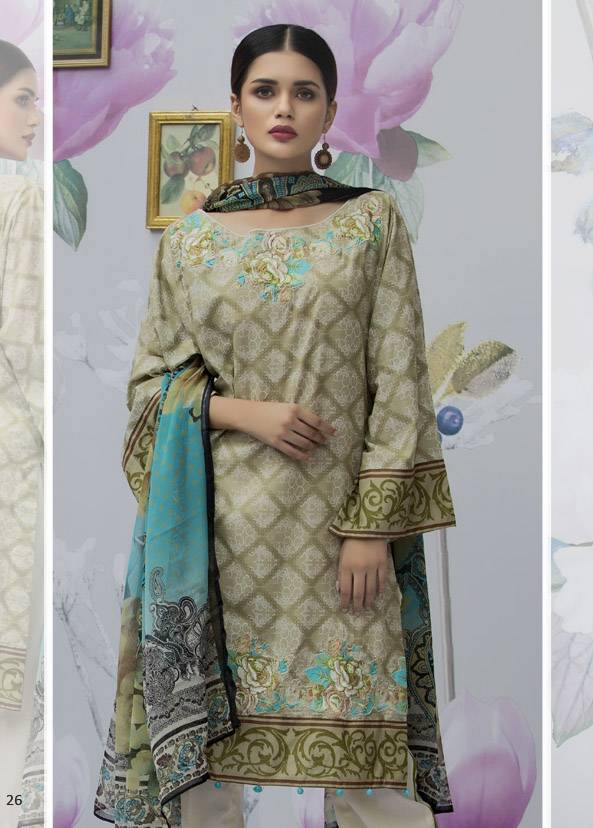 Monsoon Festivana Embroidered Lawn Unstitched 3 Piece Suit MF17L2 04