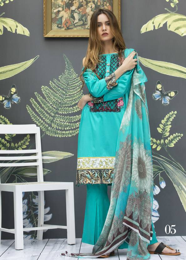 Monsoon Festivana Embroidered Lawn Unstitched 3 Piece Suit MF17L2 05