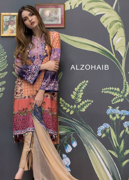 Monsoon Festivana Embroidered Lawn Unstitched 3 Piece Suit MF17L2 3A