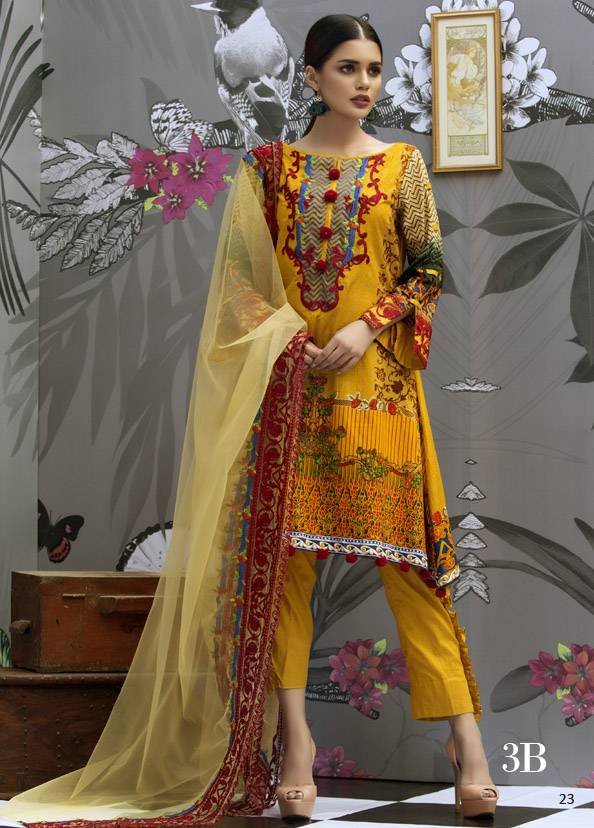 Monsoon Festivana Embroidered Lawn Unstitched 3 Piece Suit MF17L2 3B