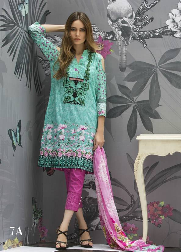 Monsoon Festivana Embroidered Lawn Unstitched 3 Piece Suit MF17L2 7A