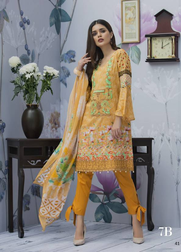 Monsoon Festivana Embroidered Lawn Unstitched 3 Piece Suit MF17L2 7B