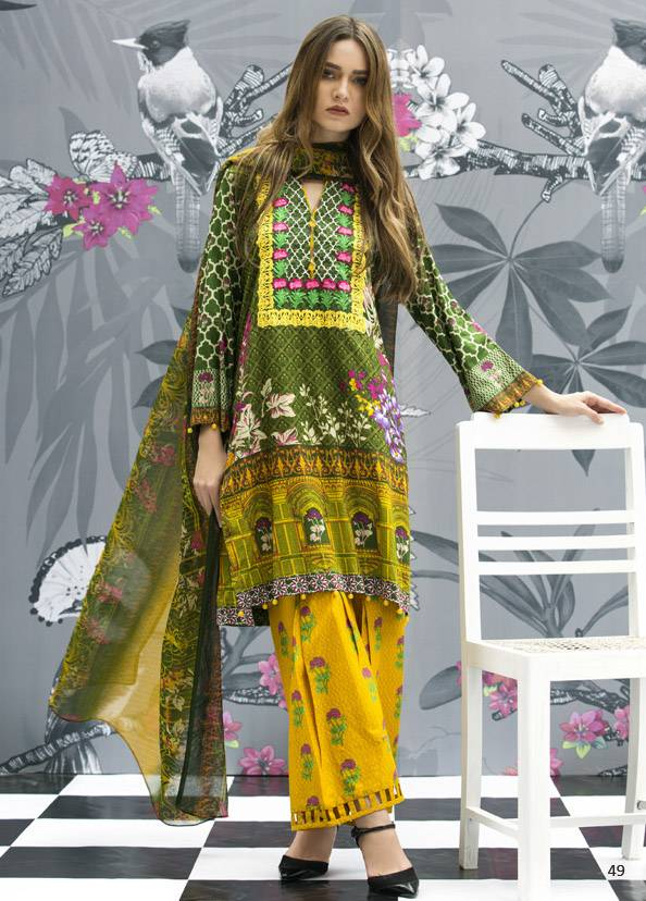 Monsoon Festivana Embroidered Lawn Unstitched 3 Piece Suit MF17L2 8B