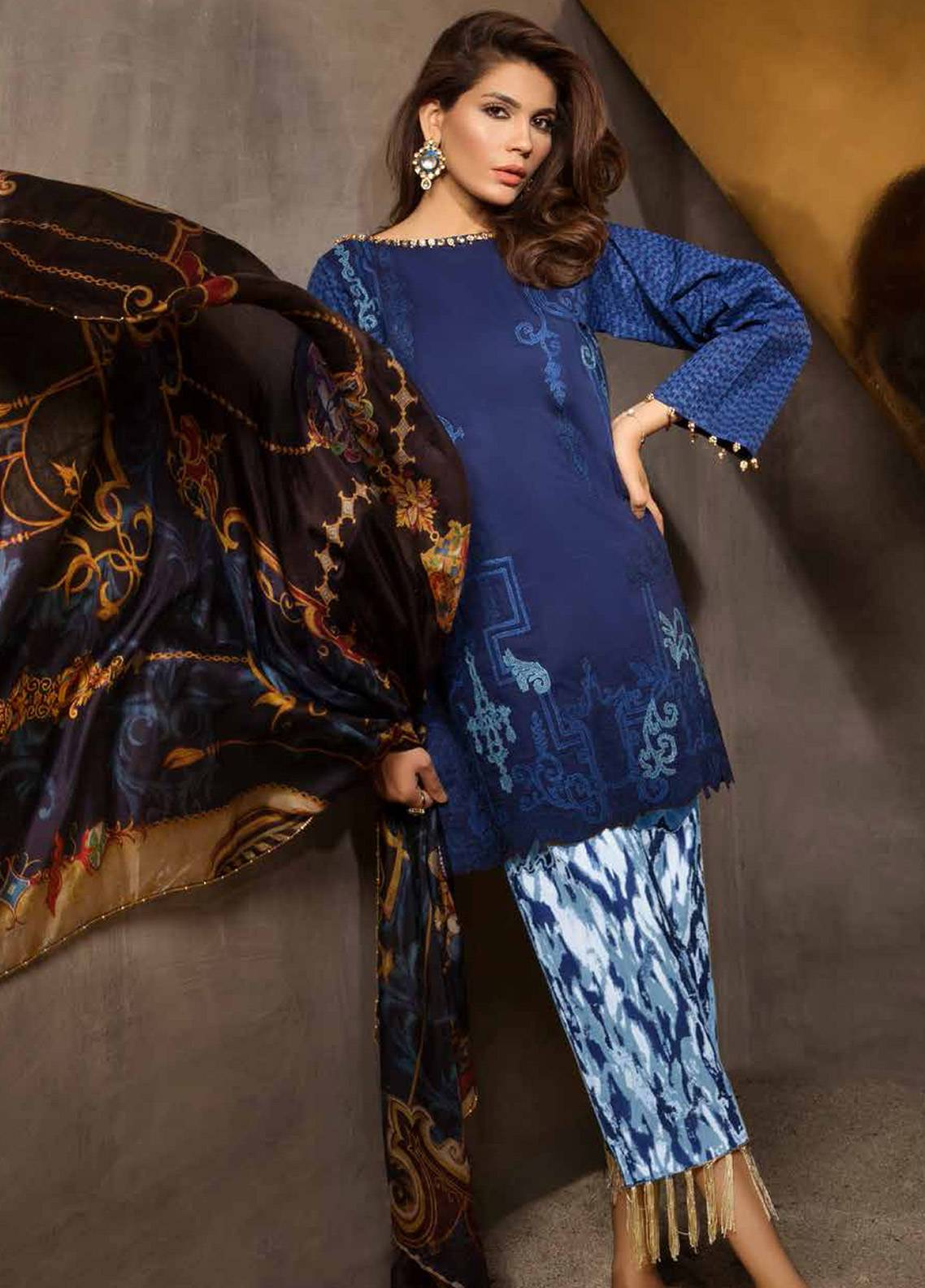 Mahgul by Al Zohaib Embroidered Lawn Unstitched 3 Piece Suit MG18E 01 - Eid Collection